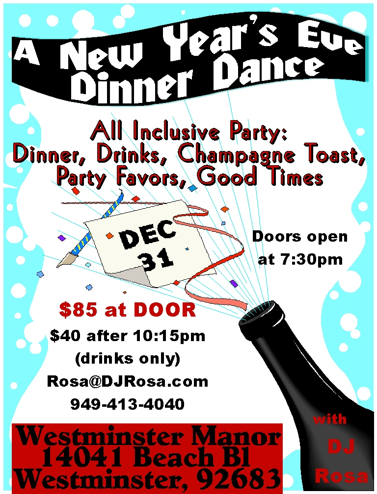 Dec. 31 :: DJ Rosa's Lesbian New Year's Eve Dinner Dance